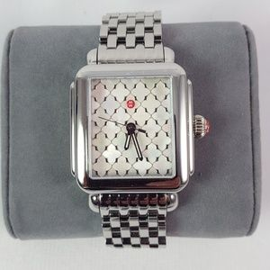 New Michele Deco Mosaic Watch Silver Mother Pearl